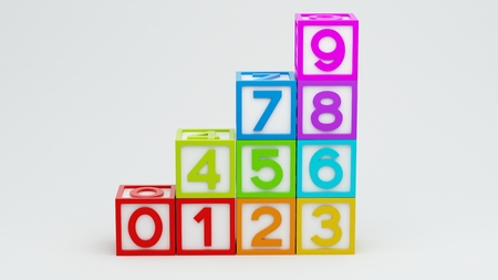 Box Number Toy isolated on white background photo