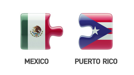 puerto rican flag: Puerto Rico Mexico High Resolution Puzzle Concept Stock Photo
