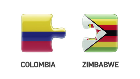 Zimbabwe Colombia High Resolution Puzzle Concept photo