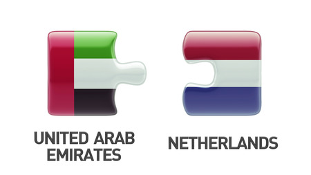 United Arab Emirates  Netherlands High Resolution Puzzle Concept photo