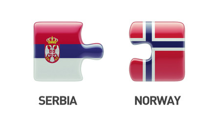Serbia Norway High Resolution Puzzle Concept Stock Photo