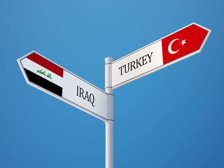 iraq: Turkey Iraq High Resolution Sign Flags Concept