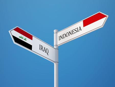 sumatra: Indonesia Iraq High Resolution Sign Flags Concept Stock Photo