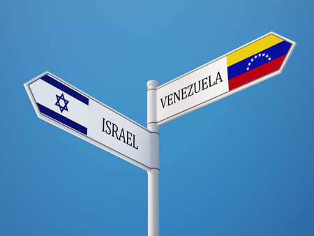 Venezuela Israel High Resolution Sign Flags Concept photo