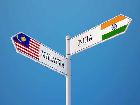 Malaysia India High Resolution Sign Flags Concept