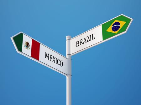 drapeau mexicain: Br�sil Mexique haute r�solution Signe Drapeaux Concept Banque d'images