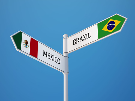 flag mexico: Brazil Mexico High Resolution Sign Flags Concept