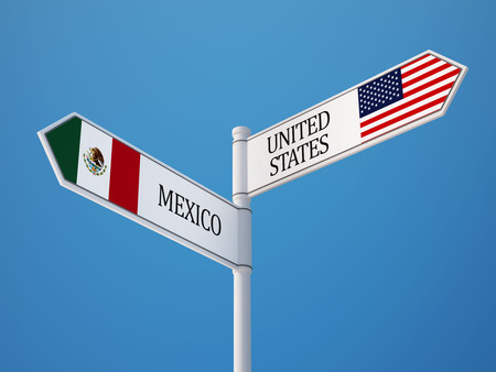 mexico: United States Mexico High Resolution Sign Flags Concept Stock Photo
