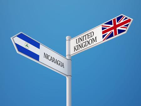United Kingdom Nicaragua  Sign Flags Concept photo