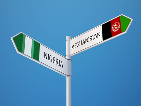 afghanistan': Afghanistan  Nigeria  Sign Flags Concept Stock Photo