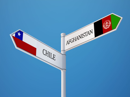 afghanistan': Afghanistan  Chile  Sign Flags Concept