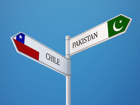 pakistani: Pakistan Chile   Sign Flags Concept