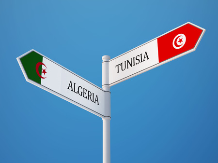 tunisie: Tunisia Algeria   Sign Flags Concept