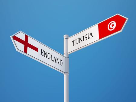 tunisie: Tunisia England   Sign Flags Concept