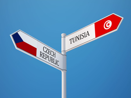 tunisie: Tunisia Czech Republic  Sign Flags Concept