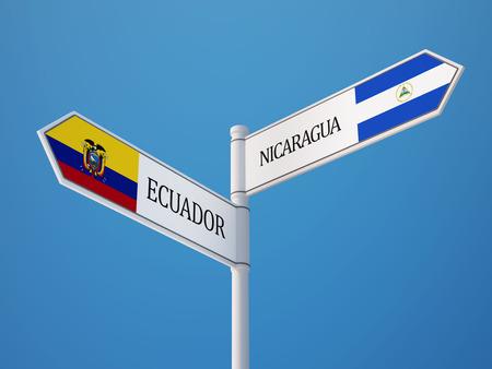 Ecuador Nicaragua Countries Sign Concept photo
