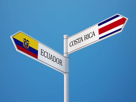 costa rican: Ecuador Costa Rican Countries Sign Concept Stock Photo
