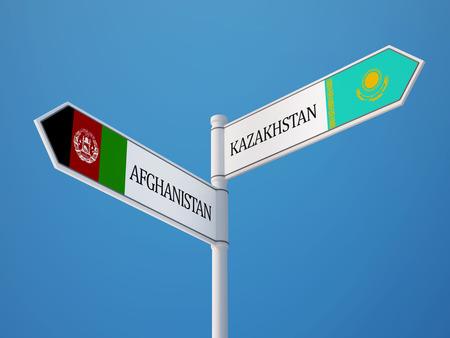 afghanistan': Afghanistan  Kazakhstan  Sign Flags Concept
