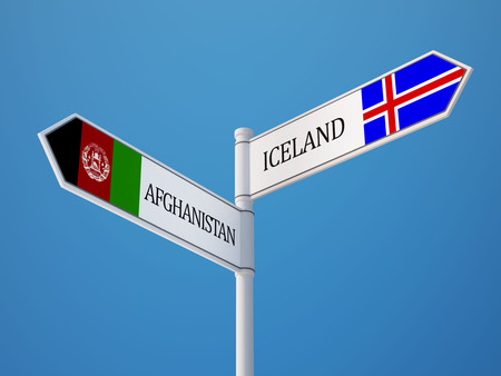 iceland: Afghanistan  Iceland   Sign Flags Concept