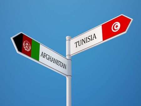 tunisie: Afghanistan  Tunisia   Sign Flags Concept Stock Photo