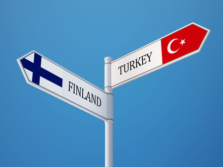 Turkey Finland   Sign Flags Concept