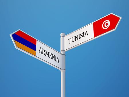tunisie: Tunisia Armenia  Sign Flags Concept