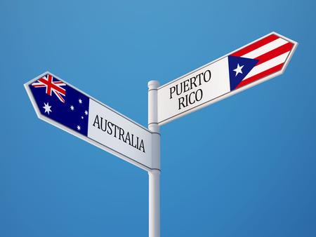 puerto rico: Puerto Rico Australia Sign Flags Concept