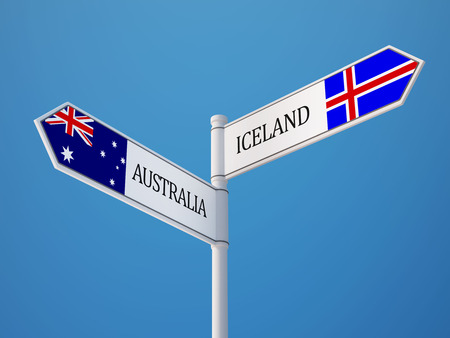 iceland: Iceland Australia  Sign Flags Concept Stock Photo