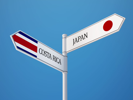 costa rican flag: Costa Rica  Japan  Sign Flags Concept