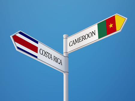 costa rican flag: Costa Rica Cameroon Countries Sign Concept Stock Photo