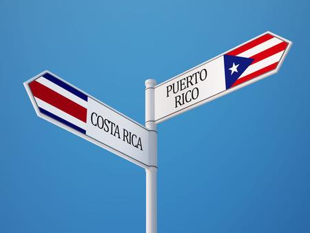 costa rican flag: Puerto Rico Costa Rica  Sign Flags Concept