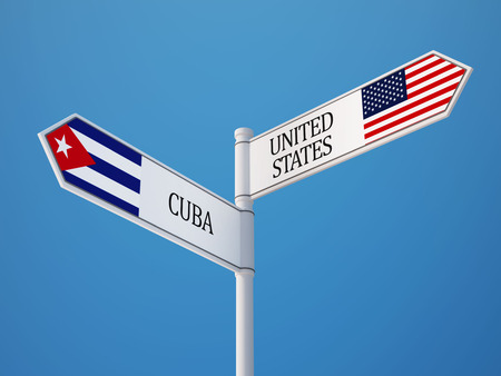 cuba flag: United States Cuba High Resolution Sign Flags Concept Stock Photo