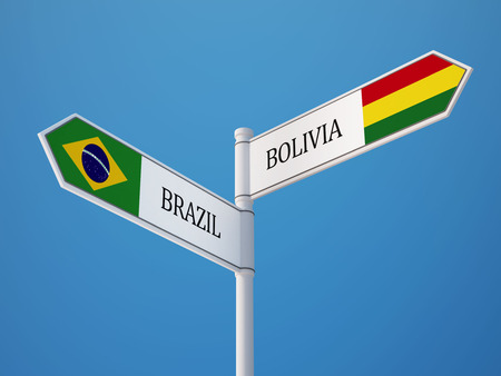 Bolivia Brazil High Resolution Sign Flags Concept photo