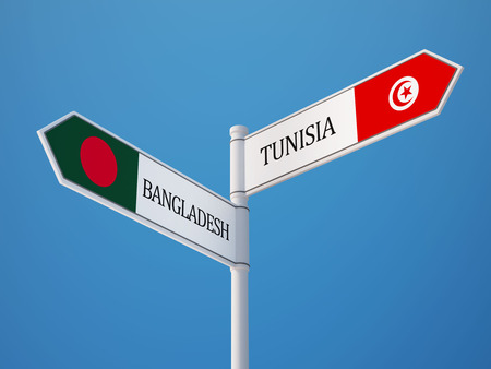 tunisie: Tunisia Bangladesh High Resolution Sign Flags Concept