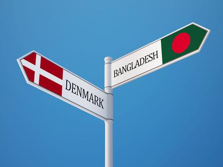bangladesh 3d: Denmark Bangladesh High Resolution Sign Flags Concept