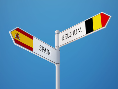 Spain Belgium High Resolution Sign Flags Concept Stock Photo