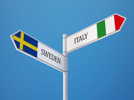 italian flag: Sweden Italy High Resolution Sign Flags Concept Stock Photo