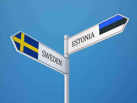 Estonia Sweden High Resolution Sign Flags Concept
