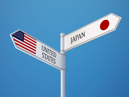 United States Japan High Resolution Sign Flags Concept Imagens