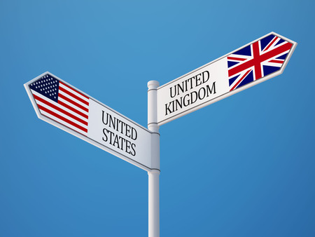 United States United Kingdom High Resolution Sign Flags Concept Imagens