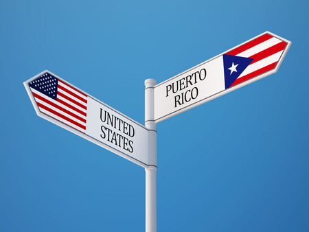 rico: Puerto Rico United States High Resolution Sign Flags Concept Stock Photo