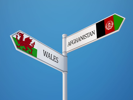Afghanistan  Wales High Resolution Sign Flags Concept photo
