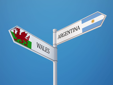 welsh: Wales Argentina High Resolution Sign Flags Concept Stock Photo