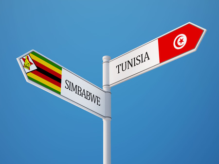 tunisie: Tunisia Zimbabwe High Resolution Sign Flags Concept