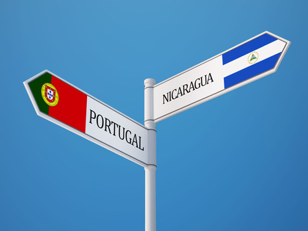 Portugal Nicaragua High Resolution Sign Flags Concept photo
