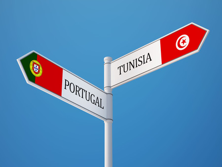 tunisie: Tunisia Portugal High Resolution Sign Flags Concept
