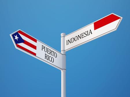 sumatra: Indonesia Puerto Rico High Resolution Sign Flags Concept Stock Photo