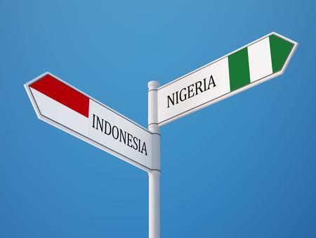 sumatra: Indonesia Nigeria High Resolution Sign Flags Concept