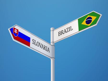 slovakian: Slovakia Brazil High Resolution Sign Flags Concept Stock Photo