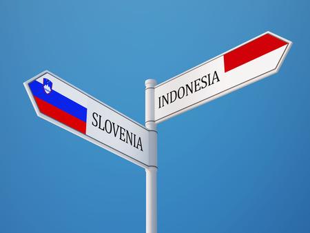 sumatra: Slovenia Indonesia High Resolution Sign Flags Concept Stock Photo